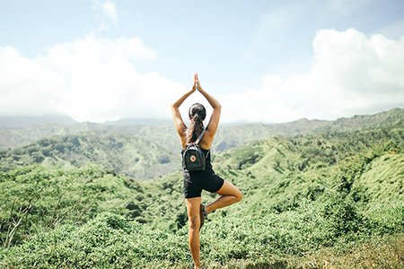 Summer Girl Hawaii Yoga Hiking Exercise View