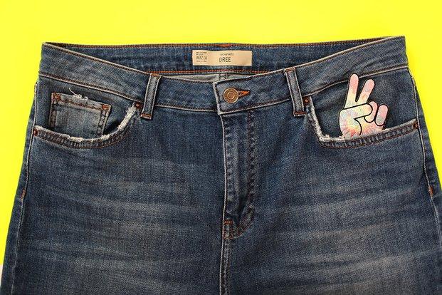 Jeans Peace Sign Denim Pocket