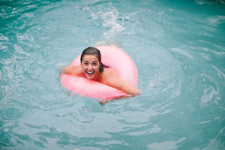 Molly Peach-Girl With Float In Pool