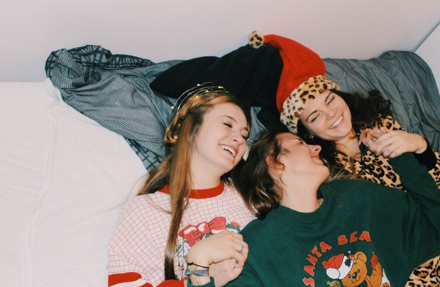 Anna Schultz-Friends Laughing In Holiday Pajamas