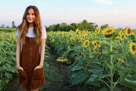 Maria Scheller-Wavy Hair Sunflower Field Dress Summer Brunette
