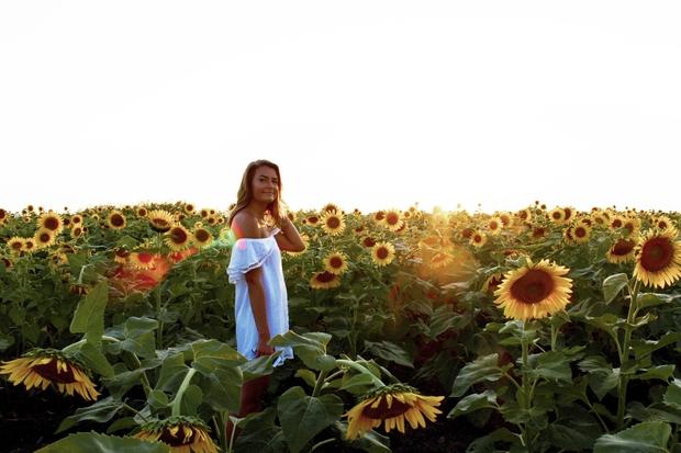 Maria Scheller-Girl White Dress Sunflower Field Summer