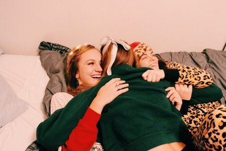 Anna Schultz-Friends Cuddling In Holiday Pajamas