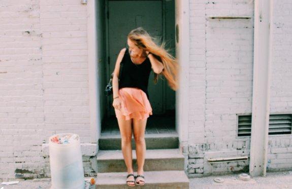 Anna Schultz-Girl In Alley Windblown Hair