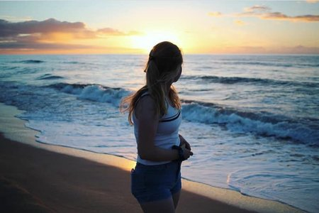 Sunset Beach Girl Ocean Water Sky Nature Peaceful