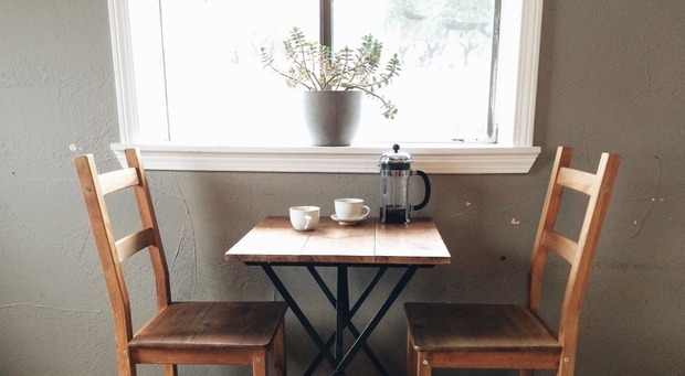 Cafe Table French Press Coffee Vintageheart