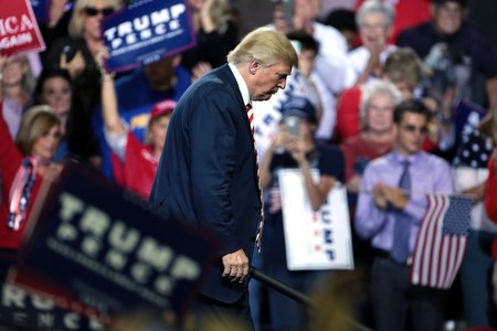 donald trump exiting a campaign speech