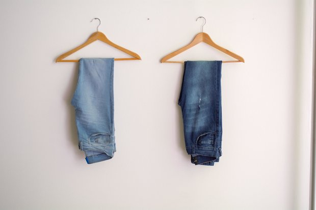 Two Hanged Blue Stonewash And Blue Jeans