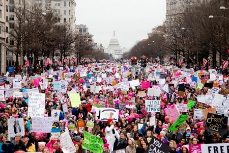 Women protesting in the Women's March on Washington