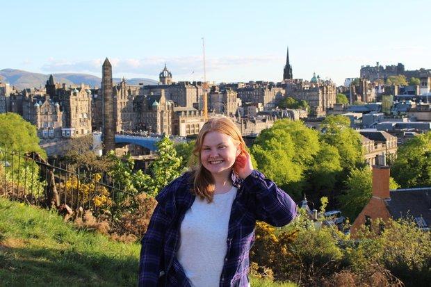 Woman on Calton Hill in Edinburgh, Scotland