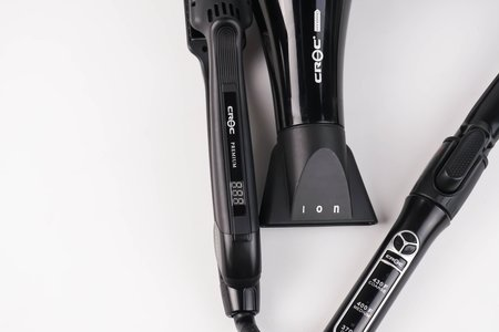 hair styling tools, blow dryer, flat iron