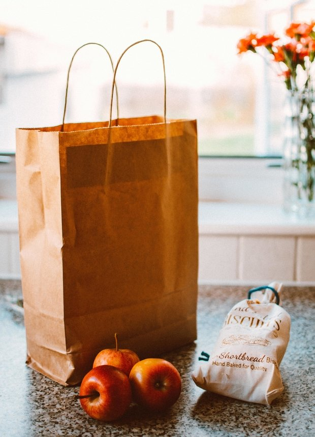 grocery bag with apple