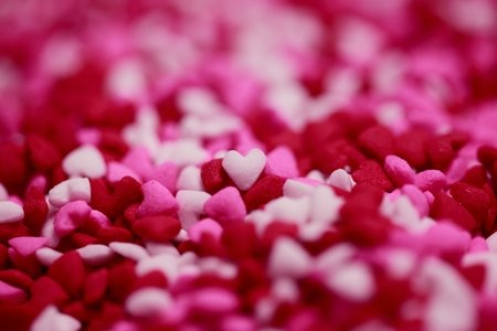 Pink, white, and red hearts