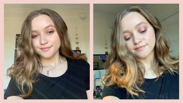 photos of a woman showing off a makeup look