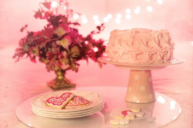 pink cake and cookies