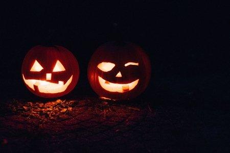 Two jack-o-lanterns