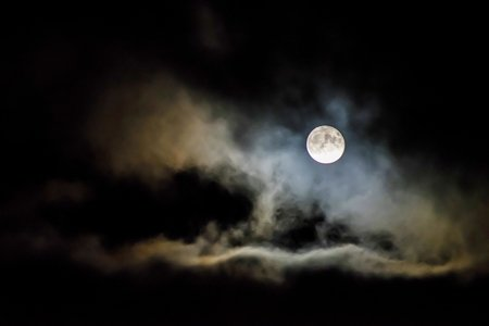 Full moon in night sky.