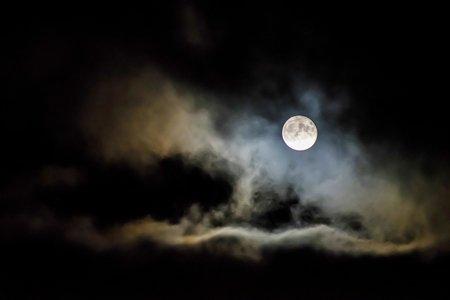 Full moon in night sky.