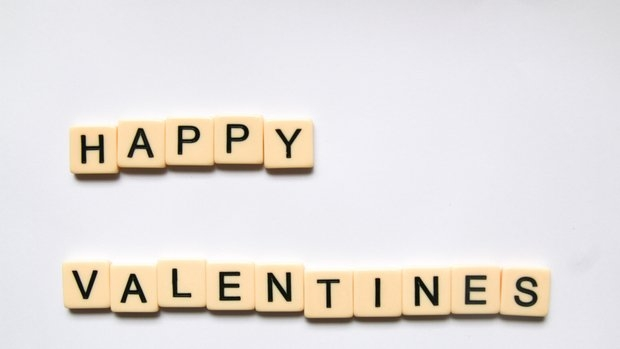 Happy Valentine's Spelled out using Scrabble pieces