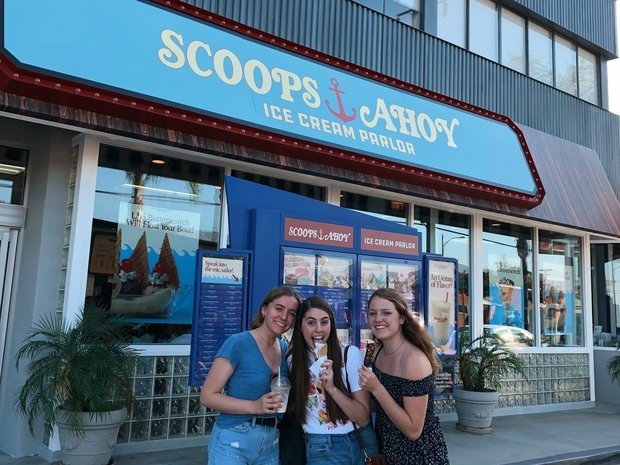 Me and my two friends outside Scoops Ahoy