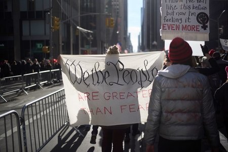 """we the people are greater than fear"" sign from the women's march in NYC"