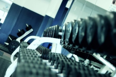 Rack of dumbbells
