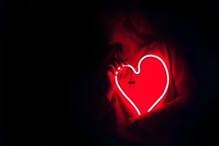 dark LED red heart