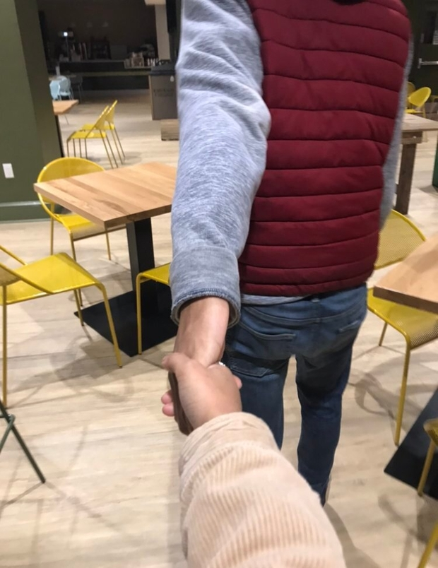 Me holding my friend David's hand