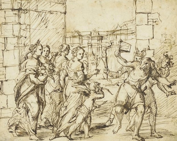 People celebrating a Roman Festival, dressing up like dogs and sheep.