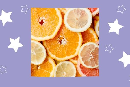 purple background with oranges and stars
