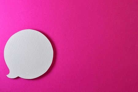 white voice bubble with hot pink background