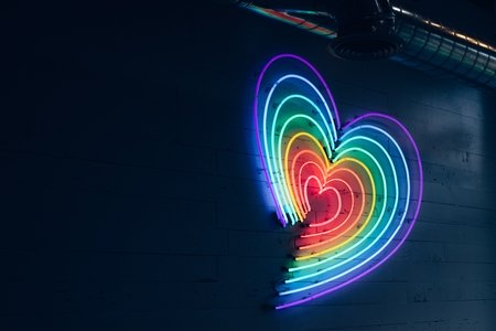 multicolored LED heart on wall