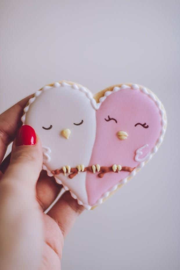 heart shapped cookies, kinda looks like a bird