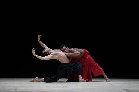 Paulo Arrais and Irlan Silva in Wayne McGregor's Obsidian Tear; photo by Rosalie O'Connor, courtesy of Boston Ballet