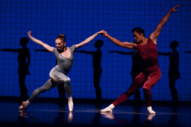 Carla Körbes and Batkhurel Bold in Robbins' Glass Pieces; courtesy of Pacific Northwest Ballet; photo by Angela Sterling