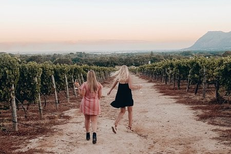 dancing through a wine vineyard in south africa