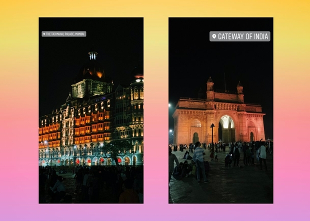 Two images, one of the gateway of India at night and the other of The Taj Palace Hotel at night in Mumbai