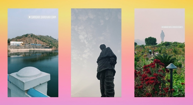 Three images, one of the Sardar Sarovar Dam in Gujarat, India, another of the Statue of Unity up close and the third of the Statue of Unity father away with flowers in the bottom of the image
