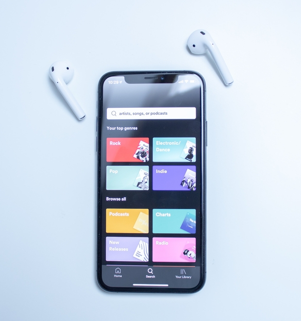 phone with spotify app open