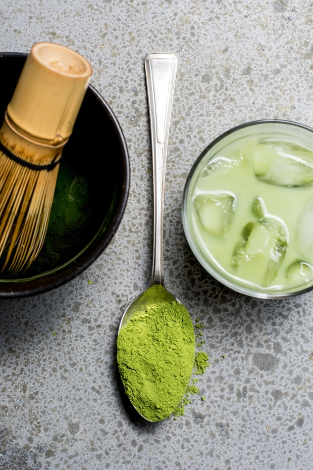 Iced Matcha with spoon