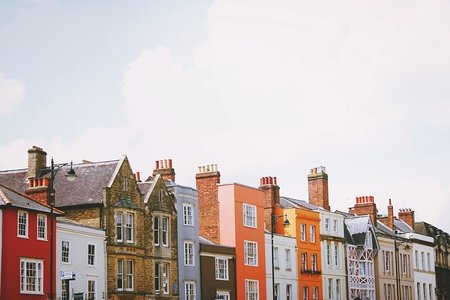 Row of assorted multicolored houses