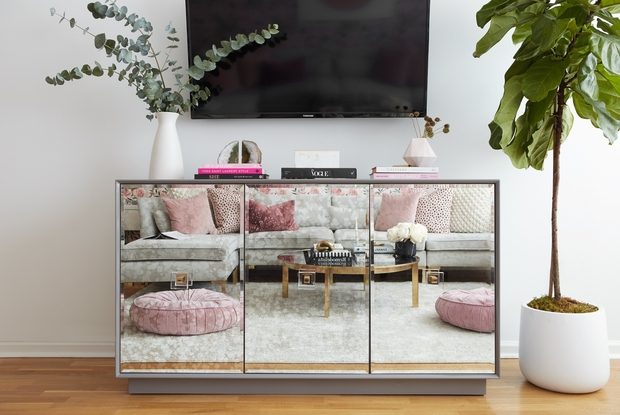 a mirrored cabinet under a mounted television with plants and books to accent. the couch and coffee table are reflected.