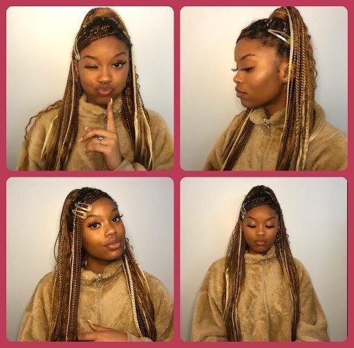 Girl styling her hair