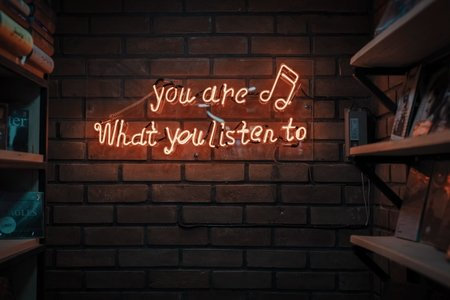"""neon red sign on a brick wall reading """"you are what you listen to"""""""