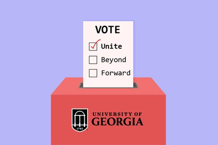 Graphic of a voting ballot for UGA. Unite is selected.