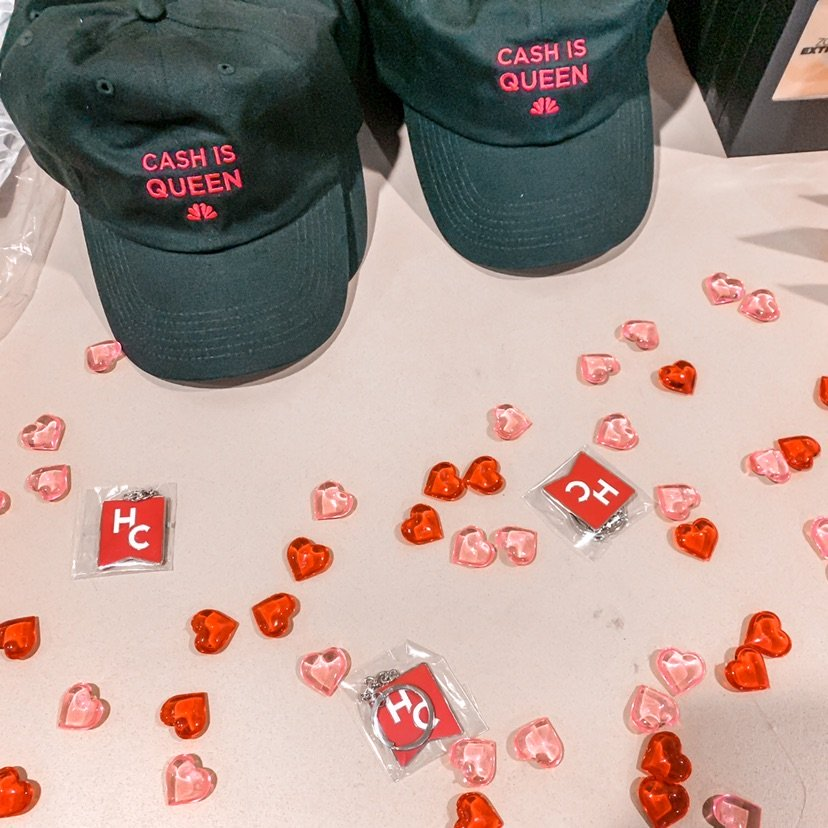 Hats and hearts on table