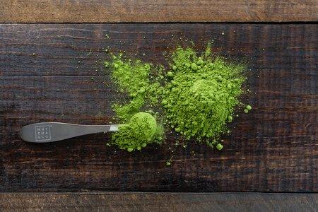 spoon of matcha powder