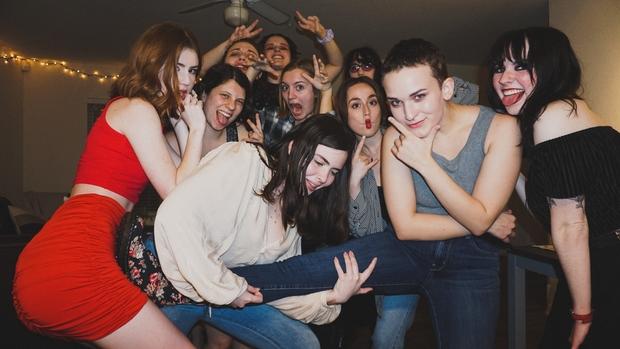 Girls having fun at party