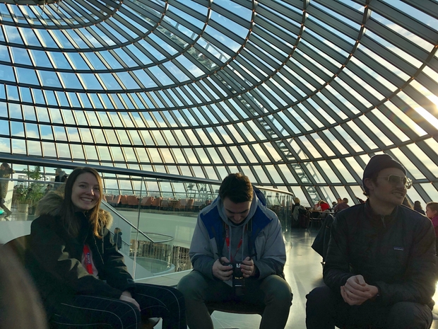 Myself, boyfriend, and Dad in dome of Perlan