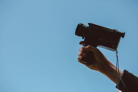 camcorder on blue background